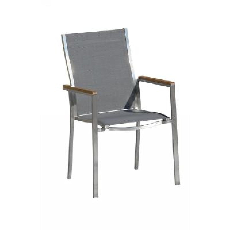 Inko Stapelsessel Artus Edelstahl mit Textileen grau und Teakholzarmlehnen bestellen