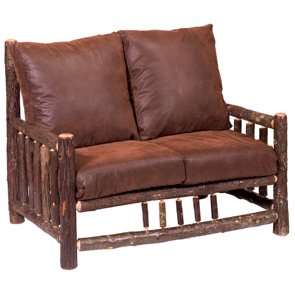 Hickory Log Frame Loveseat Real High Quality Wood Western Lodge Rustic Cabin Sofa