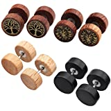 Jovivi 2-4pc Organic Sono Wood Lion Head/Tree of Life Cheater Fake Ear Plugs Gauges 10mm Illusion Screw Stud Earrings (Mixed 4pairs)