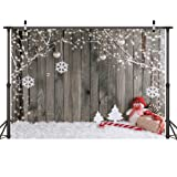 LYWYGG 7X5FT Christmas Backdrop Snow Floor Photo Backgrounds Wooden Wall Photography Backdrops for Child CP-70 (Color: Snow Floor, Tamaño: 7X5FT)