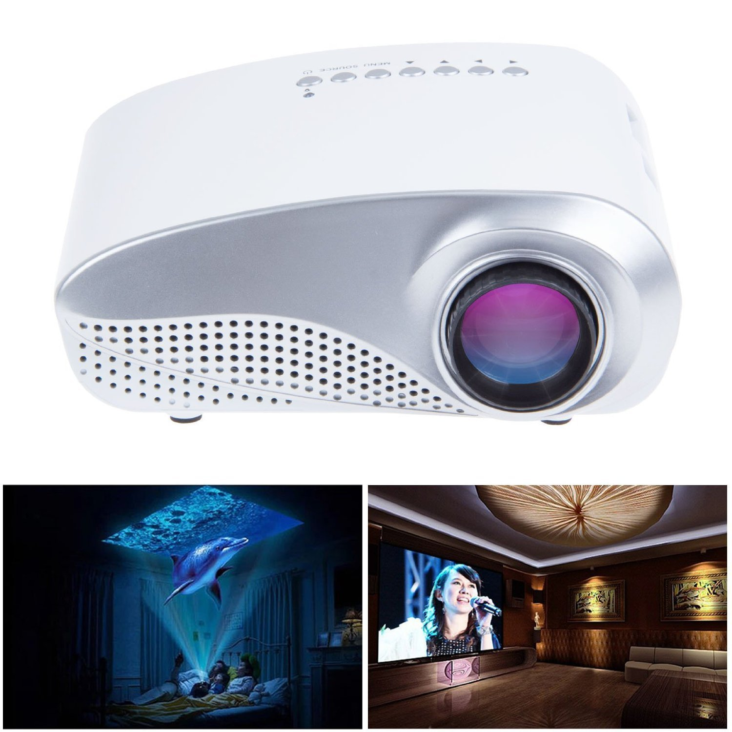 Rienar LED Mini Projector Fashionable Home Theater Support HD Video Games TV Movie TXT Music Pocket Size Projector