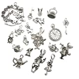 40 Pcs Mixed Alice Charms Pendants Collection---Alice in Wonderland Fairy Alice Rabbit Steampunk Skeleton Keys, Antique Silver Antique Bronze Jewelry Findings (Silver HK7)