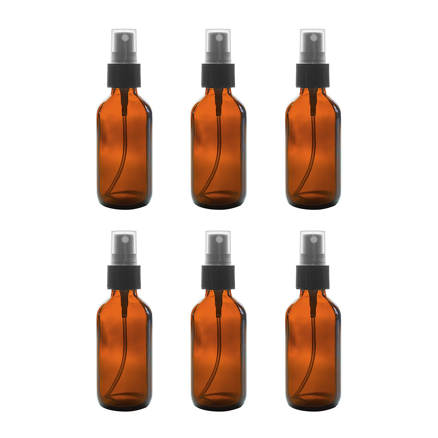 2 oz Amber Boston Round Glass Bottle with Fine Mist Sprayer Dispenser for Essential Oils, Chemistry Lab Chemicals, Colognes & Perfumes (6 Pack) by Super Z Outlet®