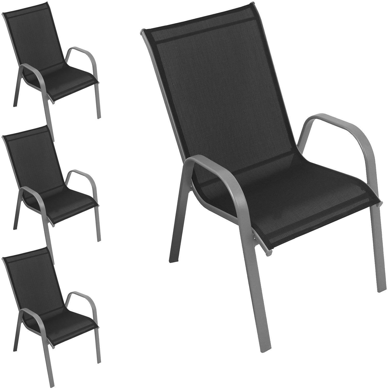 4 Stück Gartenstuhl Stapelstuhl Terrassenstuhl Balkonstuhl stapelbar Stahlgestell pulverbeschichtet mit Textilenbespannung Silber / Schwarz