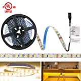 HitLights Warm White LED Light Strip, Premium High Density 3528-16.4 Feet, 600 LEDs, 3000K, 164 Lumens per Foot. UL-Listed. 12V DC Tape Light for Under Cabinet, Kitchen, Household& More (Color: Warm White, Tamaño: Non-Waterproof 600LED)