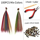 Feather Hair Extensions Kit Synthetic 16