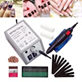 Mpnetdeal Electric Nail Drill Machine Nail File E-file Drill Set Kit for Acrylic Nails Gel Nail Glazing Nail Drill Nail Art Polisher Sets Toe Nail Drill Grinder (Color: Gray, Tamaño: 20K RPM)