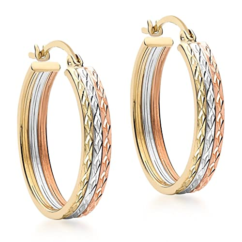Carissima Gold 9 ct 3 Colour Gold Diamond Cut Creole Earrings