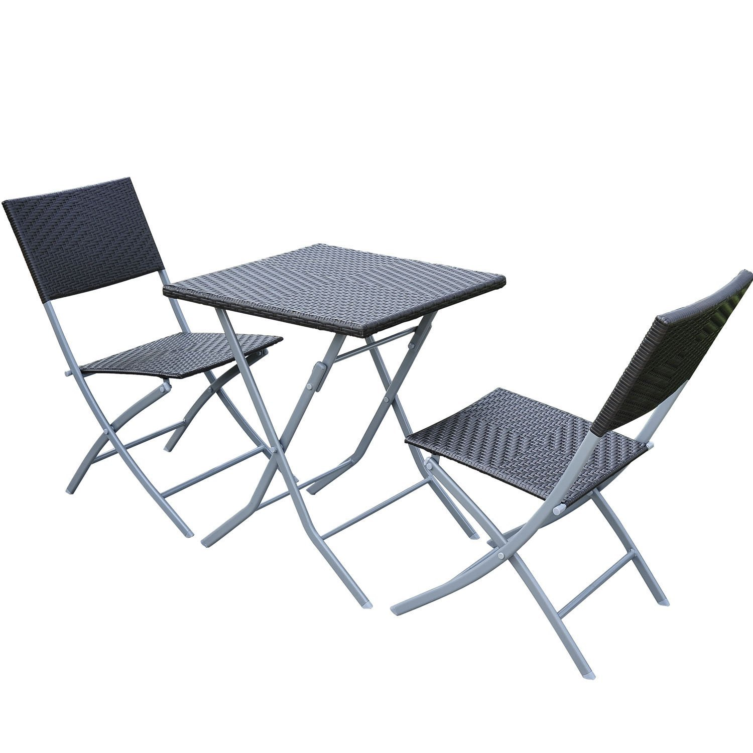 homcom gartenm bel sets polyrattan 3 er teilig bistro set. Black Bedroom Furniture Sets. Home Design Ideas