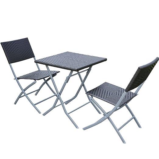 Outsunny - Conjunto de muebles de jardín (ratán sintético, 3 piezas)