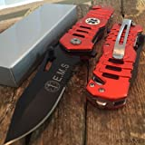 SNAKE EYE TACTICAL EMS RESCUE STYLE ASSISTED OPENING KNIFE WITH CLIP CAMPING OUTDOORS (Color: EMS)