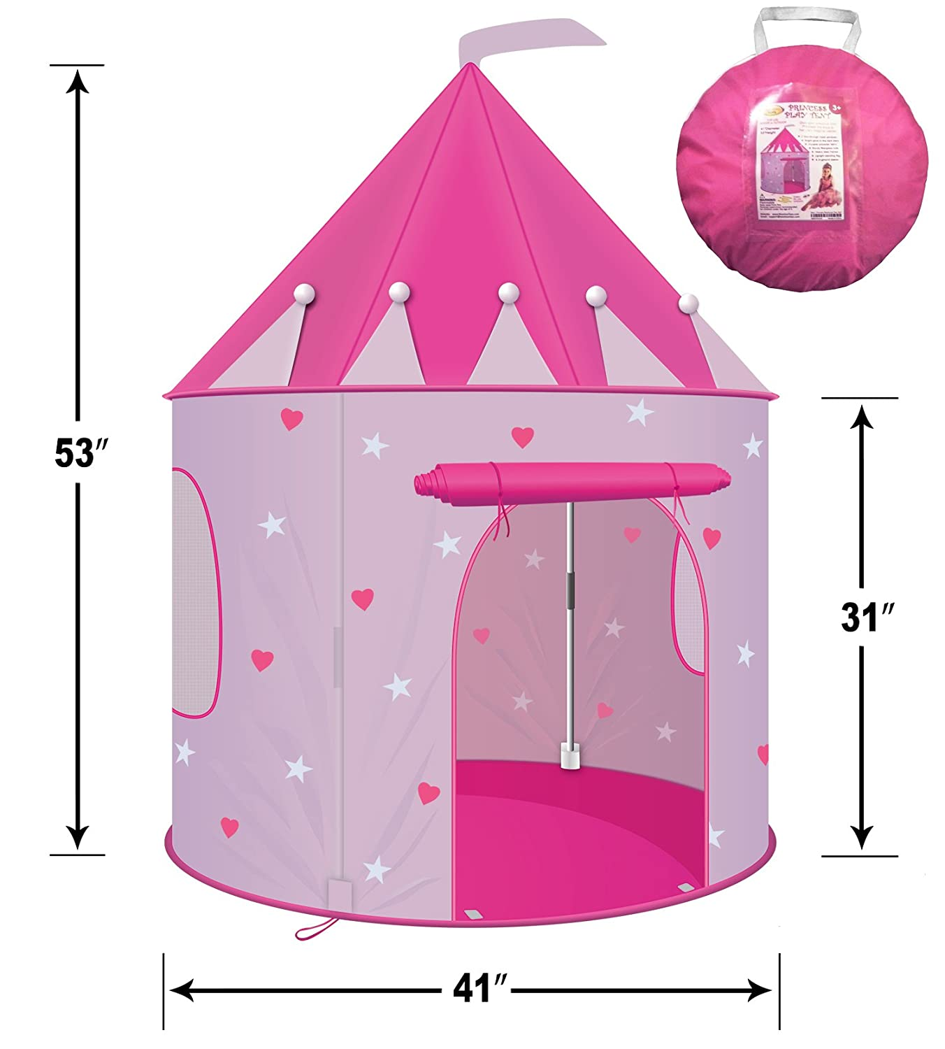 CPSIA Compliant Children Play Tent - Girl's Pink Princess Castle Play Tent Playhouse for Kids- Lightweight and Portable for Indoor or Outdoor Use With Stakes - Glow-in-the-Dark Stars - by WooHoo Toys 515pcs arendelle castle celebration princess anna elsa building block toys lepin 01018 diy gift for children compatible legoe