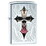 Zippo Skull and Cross Pocket Lighter, High Polish Chrome
