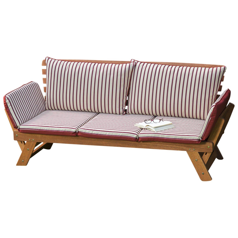 Garten – Liegesofa TIROL 202cm mit klappbaren Seitenlehnen, Eukalyptusholz, mit Wendeauflage rot beige günstig bestellen