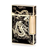 Gold Dragon Flint Wheel Cigarette Butane Gas Lighter (Color: Gold & Black)