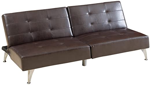Best Selling Adolfo Click-Clack Convertible Leather Sofa Couch, Oversize, Brown