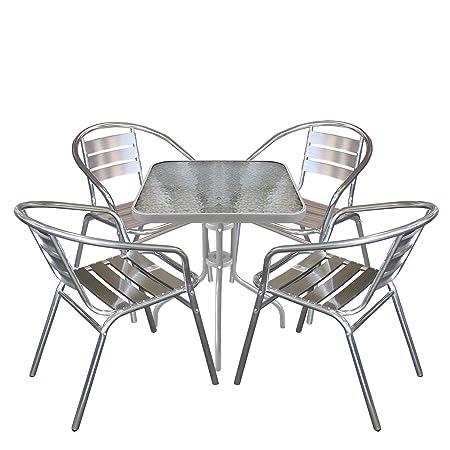 5tlg Balkonmöbel Terrassenmöbel Bistro Set Aluminium Bistrostuhl Stapelstuhl Bistrotisch Glastisch 60x60cm Sitzgruppe Sitzgarnitur