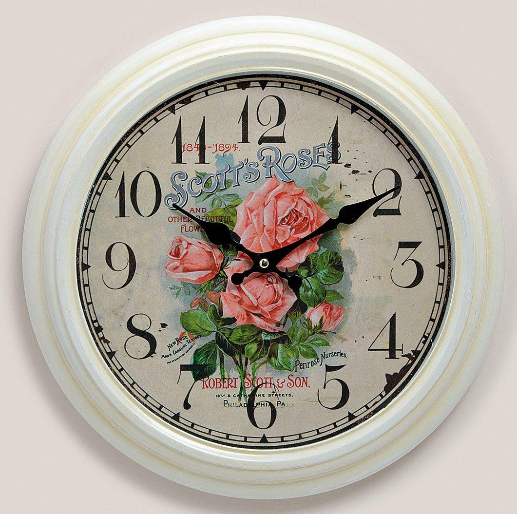 Wanduhr aus Metall 37cm weiß – Motiv: Rose Rosen Blumen – Landhaus antik antiker Stil – Uhr rund mit Glasscheibe jetzt bestellen
