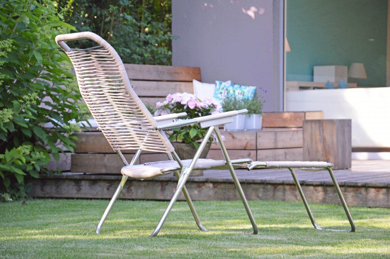 Liegestuhl Spaghetti Gartenstuhl mit Beinauflage Taupe von Jan Kurtz günstig kaufen