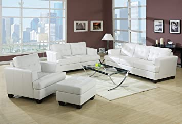 Acme 15096B Diamond Bonded Leather Loveseat with Wood Leg, White