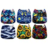Mama Koala One Size Baby Washable Reusable Pocket Cloth Diapers, 6 Pack with 6 One Size Microfiber Inserts (Charming) (Color: Charming, Tamaño: One Size)