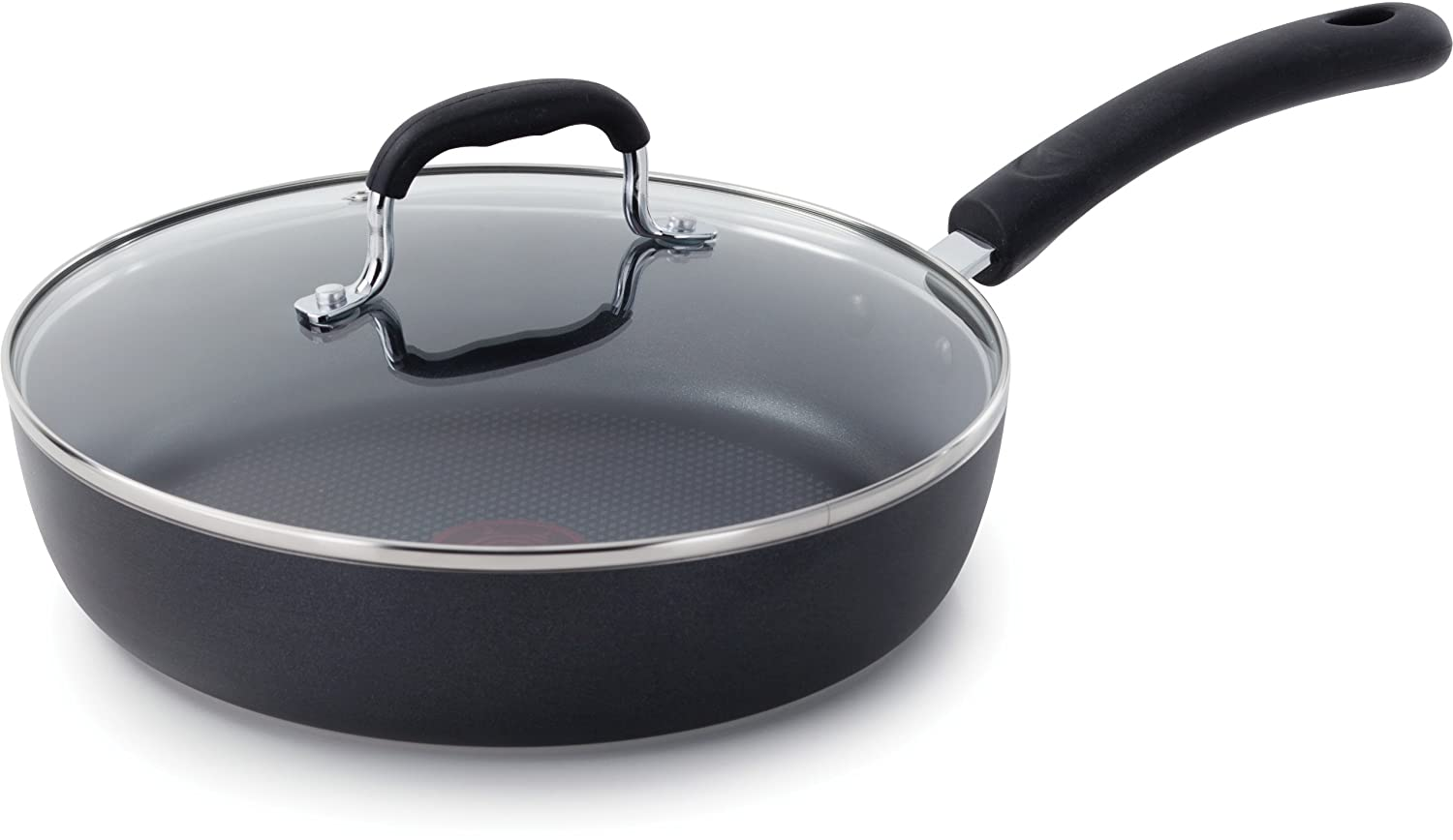 T-fal E93897 Professional Total Nonstick Thermo-Spot Heat Indicator Fry Pan with Glass Lid, 10-Inch, Black