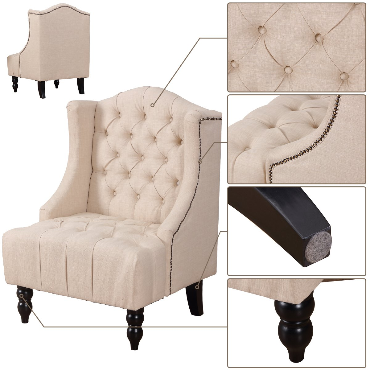 Giantex Sofa Tufted Tall Wingback Vintage Tufted Fabric Accent Chair Home Furniture Nailhead Armchair (Beige)