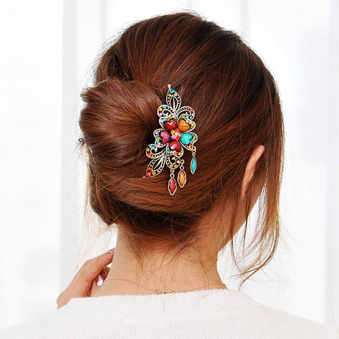 Voberry® Retro Vintage Fashion Antique Bronze Women's Colorfull Rhinestone Elegant Peacock Tuck Comb Hair Clip-colorful with Accessory1 Pcs Random Color 1