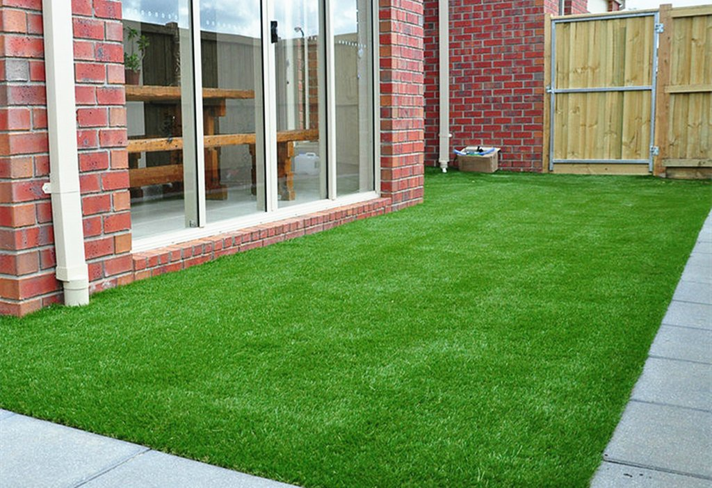 "GOLDEN MOON Artificial Grass Rug Series PE Indoor/Outdoor Green Decorative Synthetic Artificial Grass Turf Area Rug 1"" Pile Height 3x5"
