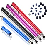 Bargains Depot Capacitive Stylus/Styli 2-in-1 Universal Touch Screen Pen for All Touch Screen Tablets & Cell Phones with 20 Extra Replaceable Soft Rubber Tips (Pack of 4) (Color: Black/Blue/Purple/Red)