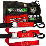 RHINO USA Motorcycle Tie Down Straps (2 Pack) Lab Tested 3,328lb Break Strength, Steel Cambuckle Tiedown Set with Integrated Soft Loops - Better Than a Ratchet Strap (Color: 2pk Red)