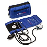 Manual Blood Pressure Cuff By Paramed – Professional Aneroid Sphygmomanometer With Carrying Case – Adult Sized Cuff – BP Monitor Set With Stethoscope (Dark Blue) (Color: Blue)
