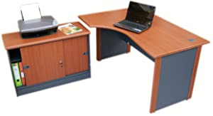 1.4 m Office Corner desk LEFT hand with Side cabinet  Cherry  Idea       Office ProductsCustomer reviews and more information
