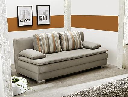 Schlafsofa Floris cappucino 202x101 cm Sofa Bettkasten Funktionssofa Couch Kissen gestreift