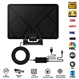 TV Antenna, Skywire TV Antenna with Stand, Up To 150 Miles Range, Support 1080P 4K, HD Digital TV Antenna with HDTV Amplifier Signal Booster Indoor, 16.4 Feet High Performance Coaxial Cable (Color: Black)