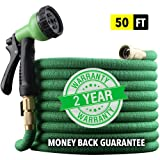 "[2019 UPGRADED] X-STREAM 50 foot Non-Kink Expandable Garden Hose, 10-PATTERN Spray Nozzle INCLUDED, 3/4"" Brass Fittings with Shutoff Valve, BEST 50' Foot Garden Hose - 2 YEAR WARRANTY - Green"
