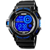 Aposon Men's Digital Sports Watch, Military Army Electronic Watches Running 50M 5 ATM Waterproof Sports LED Wristwatch Water Resistant with Stopwatch - Blue (Color: blue, Tamaño: Men's Standard)