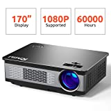 Projector, RAGU Upgraded HD Video Projector 4000L Outdoor Movie Projector,1080P Supported, 60,000 Hours Led, Compatible with Fire TV Stick, HDMI, VGA, USB, TF, iPhone, iPad (Color: Silver+Black)