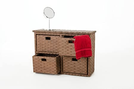 """Armario de pared VIVANNO cómoda con 4 compartimentos de """"Ordena"""" de ratán sintético, 57 cm, colour marrón"""