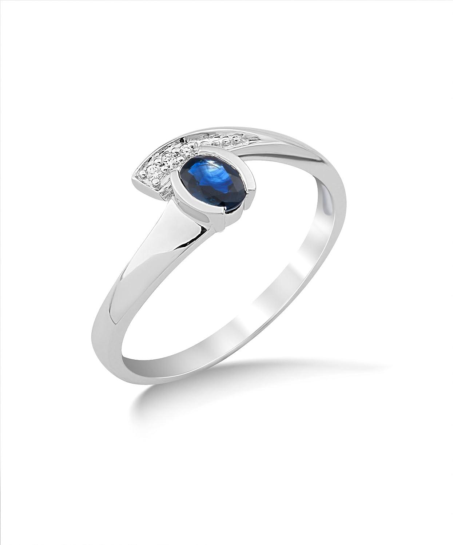 Miore Damen-Ring Saphir und Brillanten 9 Karat 375 Weißgold MG9119R als Geschenk