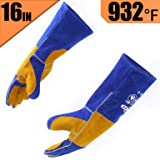 RAPICCA Leather Forge Welding Gloves Heat/Fire Resistant, Mitts for Oven/Grill/Fireplace/Furnace/Stove/Pot Holder/Tig Welder/Mig/BBQ/Animal handling glove with 16 inches Extra Long Sleeve – Blue (Color: Blue, Tamaño: 16 inch,xl)