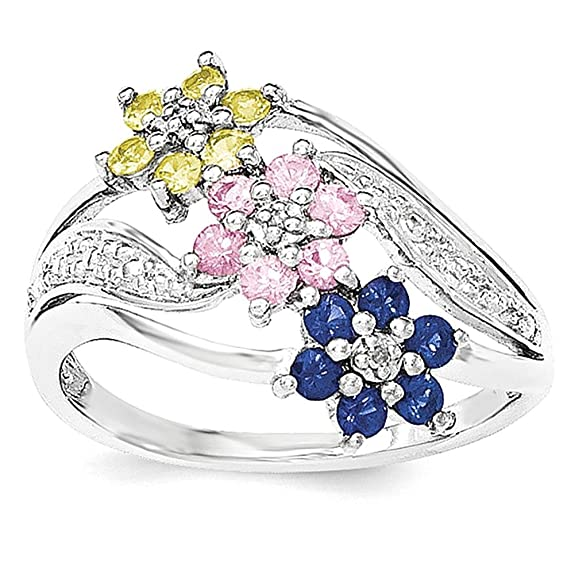 Sterling Silver Floral Blue/Pink/Yellow Sapphire & Diamond Ring
