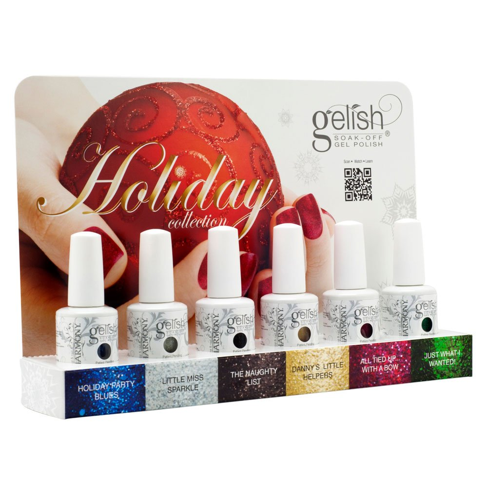 Gelish Soak Off HOLIDAY COLLECTION Set of 6 Colors Nail UV Gel Polish Christmas