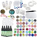 Frenshion 5 Pcs 30ML Crystal Epoxy Resin UV Glue, 14Pcs Transparant Silicone Mould 100 Pieces Golden Rings Metal Accessories, Mini Lamp Tweezer 48 Pcs For Jewelry Earrings Necklace Bracelet Nail Art (Tamaño: Set)