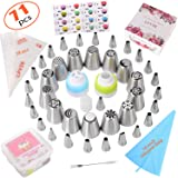 Russian Piping Tips set 71Pcs-Cake Decorating Supplies with storage case-39 Numbered easy to use (14 Russian+24 Icing+1 Leaf Tips) 3 Couplers-28 Pastry Bags-Paper User Guide (Tamaño: 71Pcs)