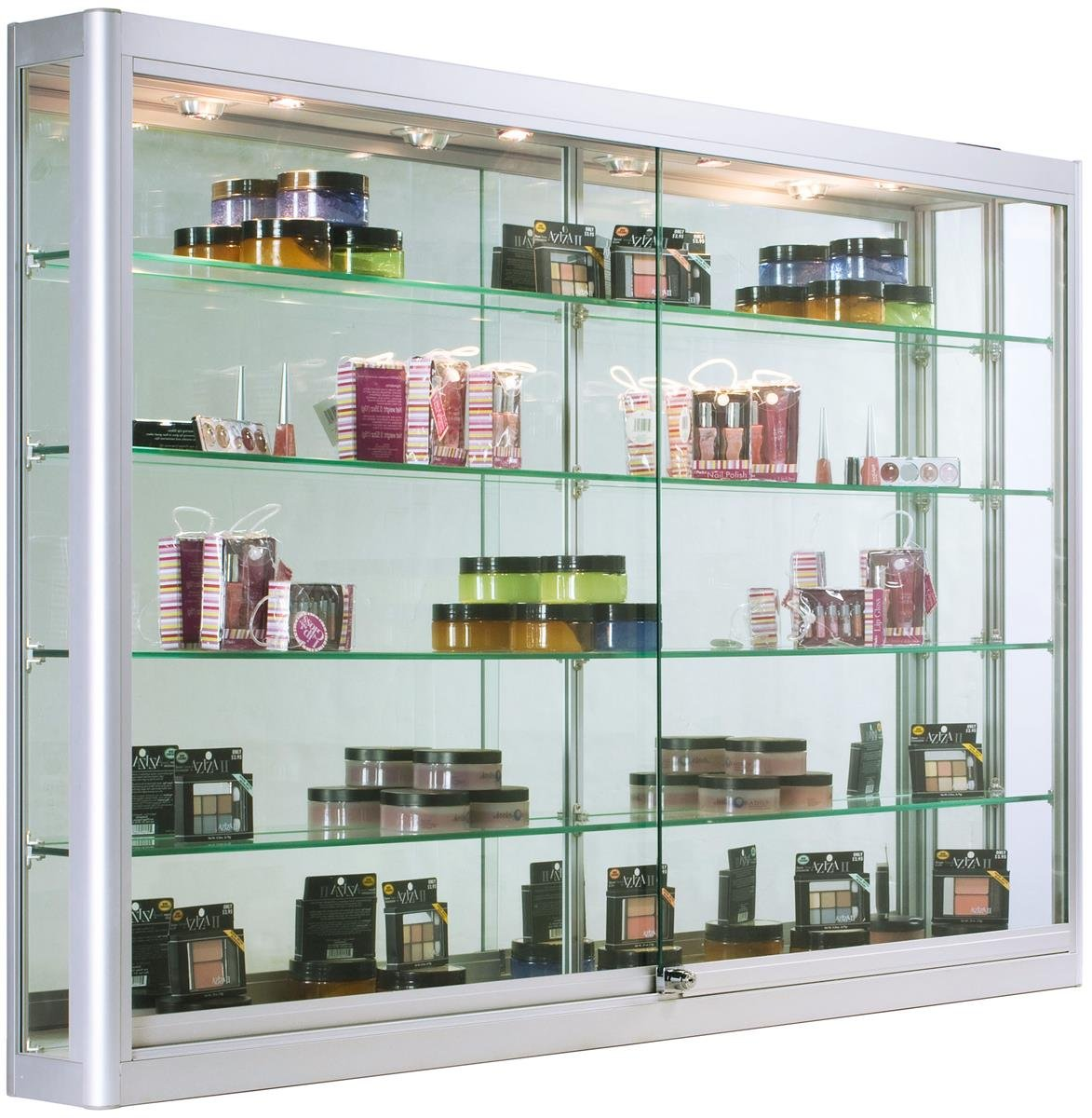Displays2go Glass Wall Cabinets with LED Lights, Aluminum, Tempered Glass Shelves – Silver (WC606LEDS)