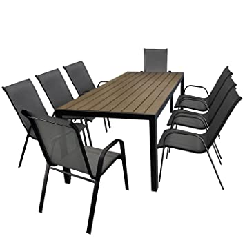 9tlg. Gartengarnitur Aluminium Gartentisch, Tischplatte Polywood Braun, 205x90cm + 8x Stapelstuhl, Textilenbespannung in Grau - Gartenmöbel Set Sitzgarnitur Sitzgruppe