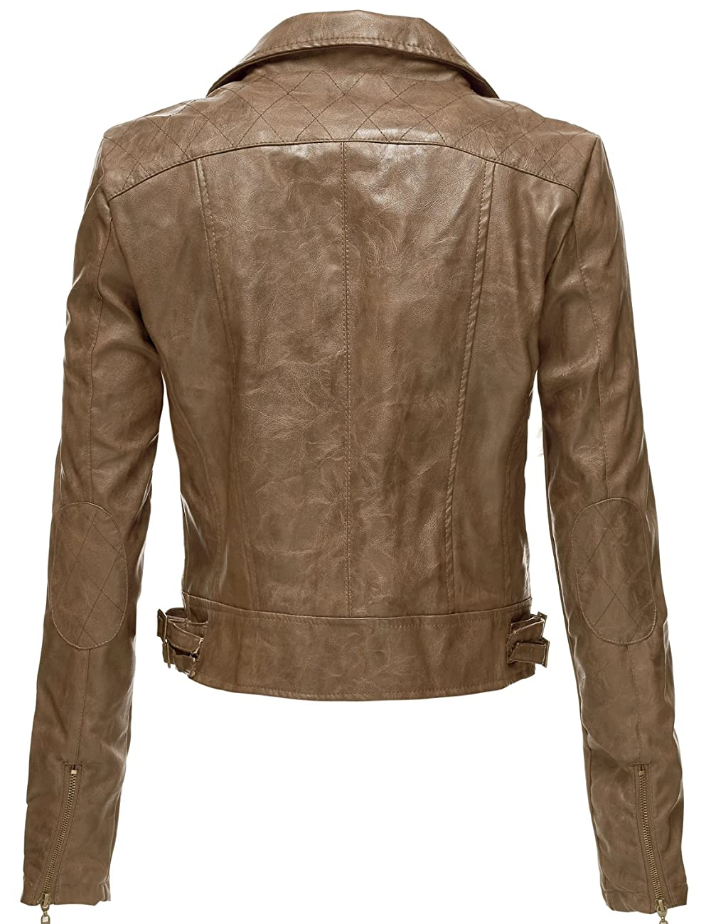 Luna Flower Women's Faux Leather Bomber Jean Moto Rider Jackets 1