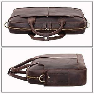 Jack&Chris New Genuine Leather Briefcase Messenger Bag Laptop Bag, NM1864-5 (Color: Deep Brown, Tamaño: One_Size)