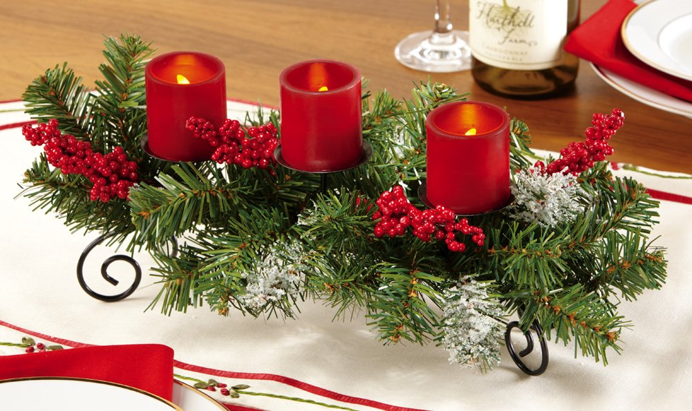 Evergreen Led Candle Holiday Centerpiece
